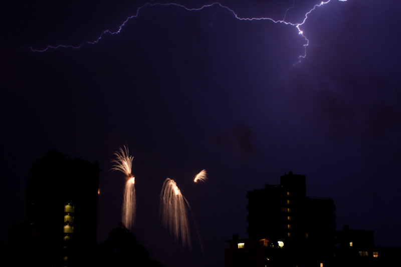 Lightning & fireworks in Vancouver 7/25/09 (photo source: @TylerIngram)