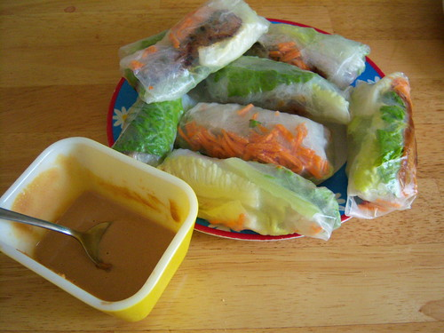 veggie and tofu summer rolls