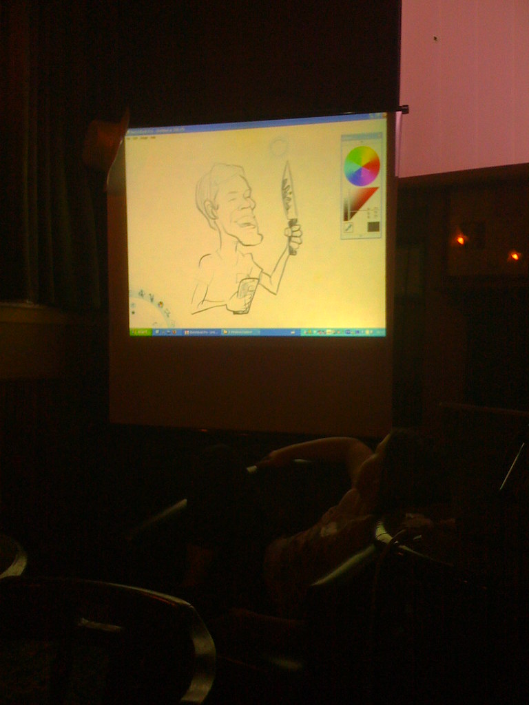 Alex Hughes live cartoons Neil Houston