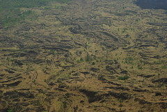 04a - Lava fields with black ash lines from previous Mt Batur eruptions
