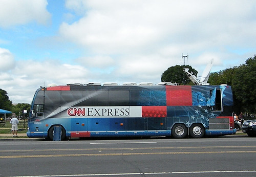 CNN truck was used to block view of crowd for their cameras