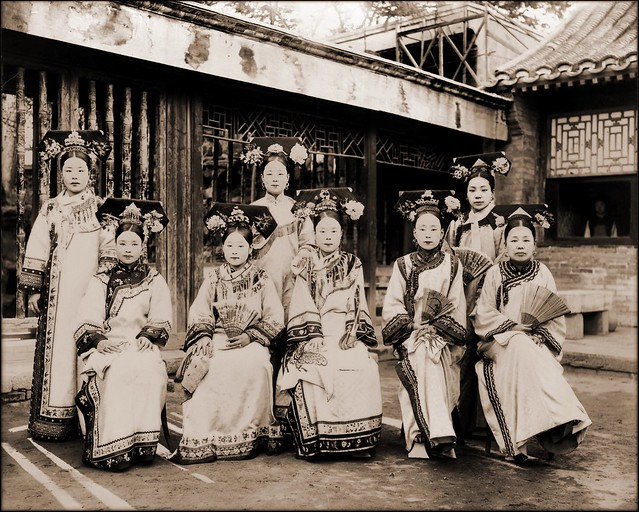 China, Manchu Ladies Of The Palace Being Warned To Stop Smoking [c1910-1925] Frank & Frances Carpenter [RESTORED]