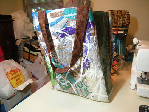 This is Tims other bag. I used various shapes and plastic bags for the random design.