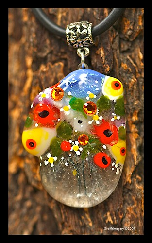 Poppies and Posies...see through bud vase pendant by you.