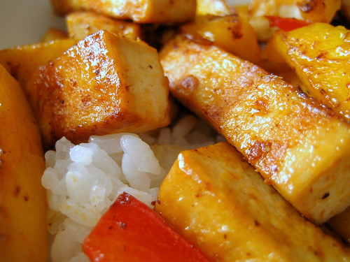 grilled mango and tofu