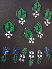 Shrinky Dink hair clips and boutonnieres.