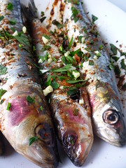 Sardines with , Salt , Smoked Paprika , and Parsley