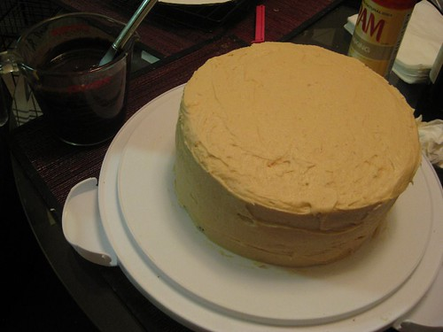Cake with PB Cream Cheese frosting