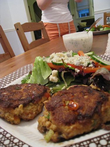 CSA Salad (and Salmon Cakes)