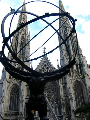 Atlas Shrugged facing St. Patricks Cathedral.