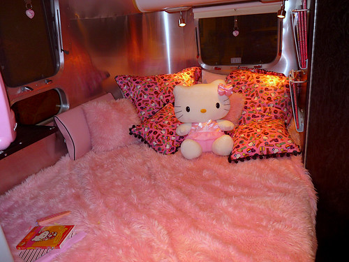 Bed inside the Hello Kitty Trailer