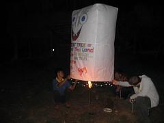 Setting off a home made hot air balloon