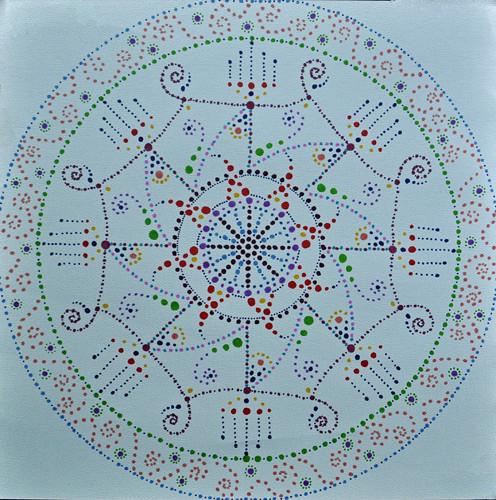 mandala #9 marker on blue paper (c) 2009, Lynne Medsker