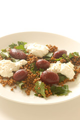 warm salad of lentils, baby beets & ricotta