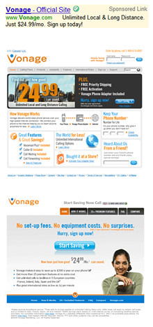 Landing Page Optimization Study Vonage.com. This example shows excellent LP separation. Design & branding elements are consistent with the main site, but layout and user experience is dramatically different.