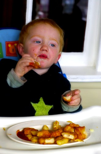 Dylan enjoys his kids meal at The Bush Inn, New Norfolk by you.
