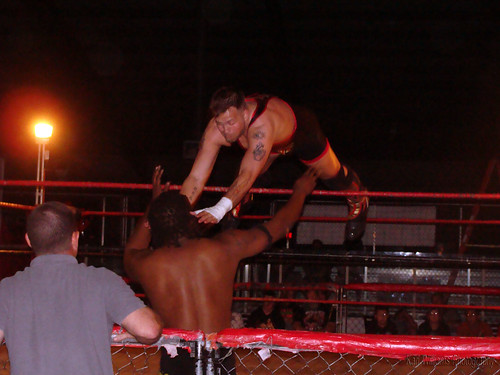 LWA Champion Jeremy Wyatt launches onto the challenger, 'Future' Donovan Ruddick during their main event battle for the title. Photo by Kari Williams