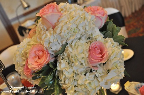 Table Centerpieces of Hydrangea and Pink Roses