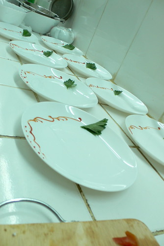 Dishes being prepared