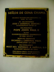 Plaque in commemorating the blessing made by Jose Cardinal Sanchez