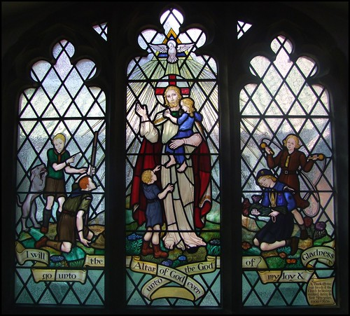 South aisle window by Alfred L Wilkinson, 1956, in St. Barnabas Church, Heigham, Norwich.  Photo from Flickr, by Simon K: