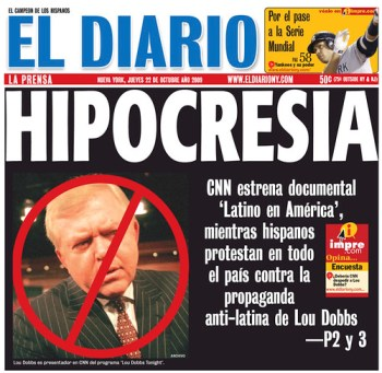 El Diario/La Prensas cover for Thursday Oct. 22, 2009.