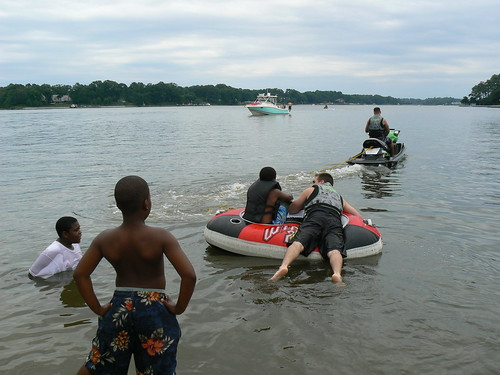 Jet Skiing - Armani and Jacal Watch Jamonte Leave with ZJ on Tube