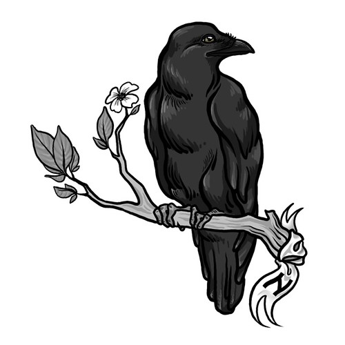 Raven Tattoo. A tattoo design for another client.