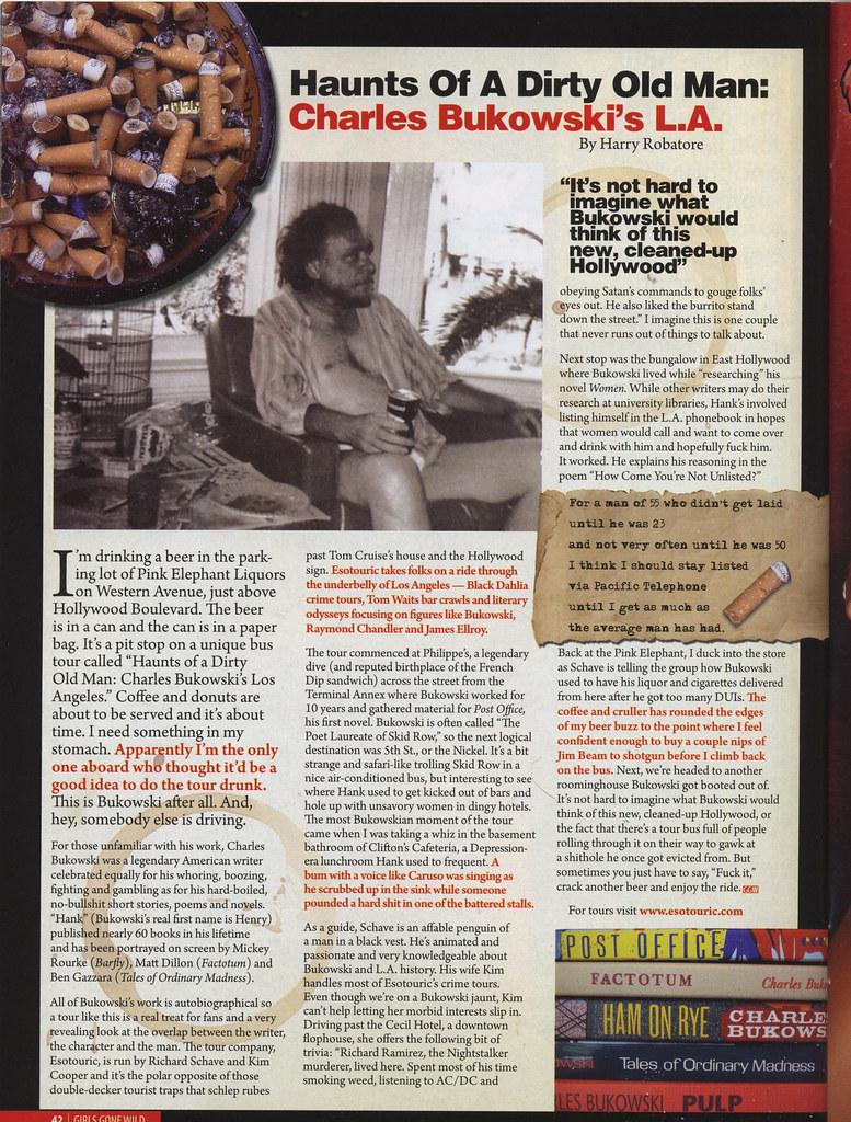 Girls Gone Wild article on Esotouric's Charles Bukowski bus tour