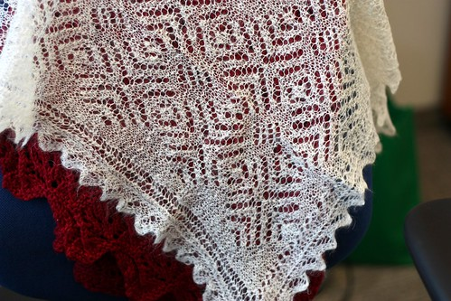 Hand-knit Orenburg Shawl