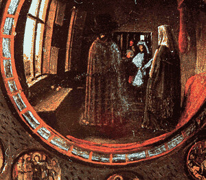 Jan van Eyck -- the Arnolfini Wedding (detail: mirror)