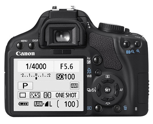 Back view of Canon EOS 450D