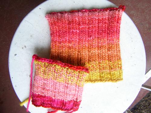 strawberry sunrise shifting stripes hat