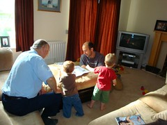 doing Jolly Phonics with Grandpa and Uncle Alex