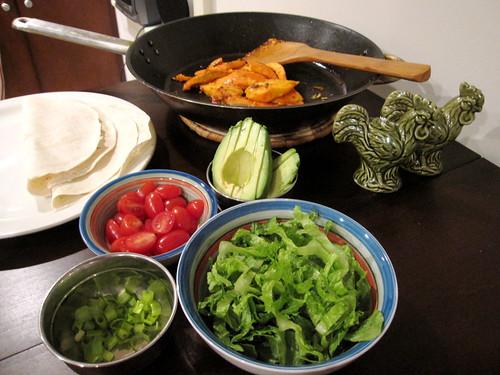 Spicy Tilapia, Grape Tomatoes, Romaine, Green Onion, & Flour Tortillas
