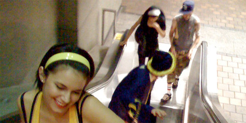 Costumed Metro riders emerge from the 7th Street Metro Center Station. Photo: Fred Camino