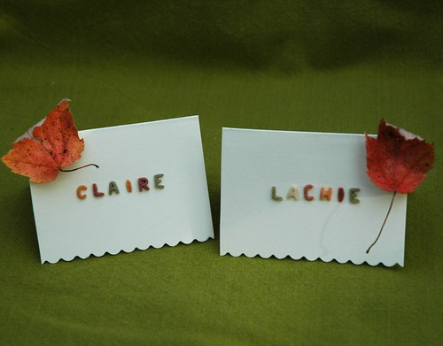 Alphabet noodle Thanksgiving placecards