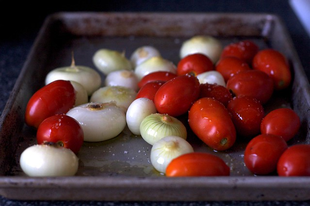 tomatoes and cipollini, ready to roast
