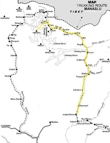 manaslu 進山地圖