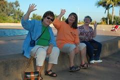 Three people waving!