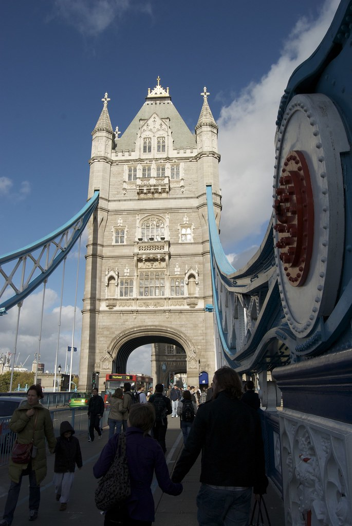 walking along tower bridge in london