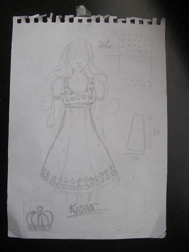 damask fabric dress - sketch