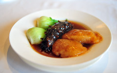 Braised Sea Cucumber and Pomelo Skin with Shrimp Roe