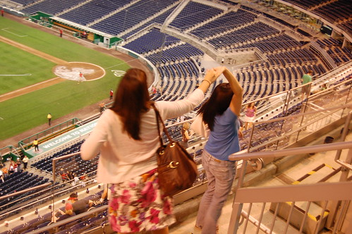 Nikki and Liz dancing at a Nats Game