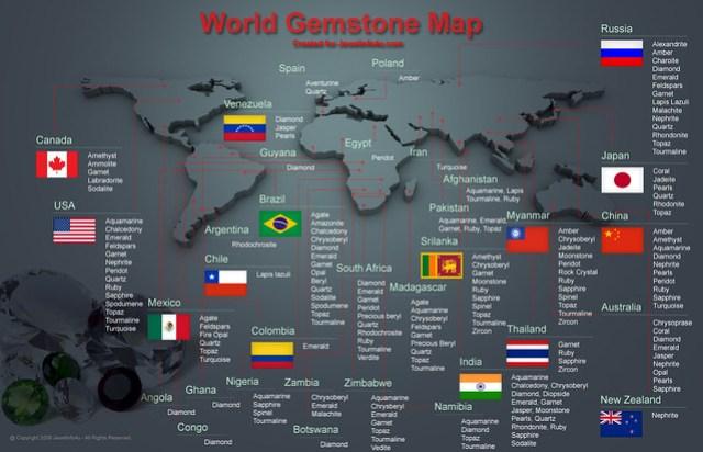 World Gemstone Map INFOGRAPHIC