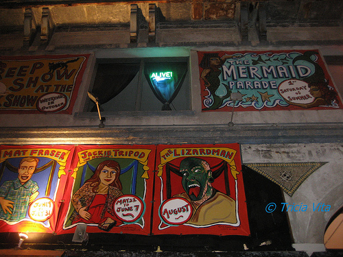 Marie Roberts banners on facade of Coney Island USA Building, May 2009. Photo © Tricia Vita/me-myself-i via flickr