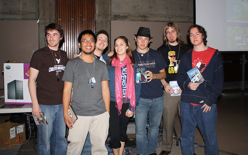 left to right: Kurt (rambo), Myself (aSydiK), Tyler (0ptik), Jess (pinkNinja - Organizer), Alex (lopert), Peter (ukm), (hoppypotty)