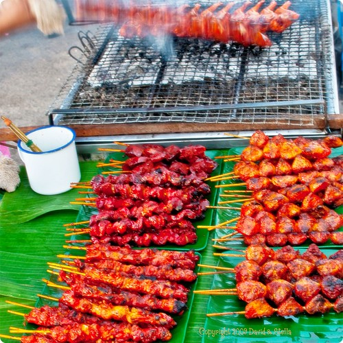 BBQ chicken wings and satay (kebabs) II