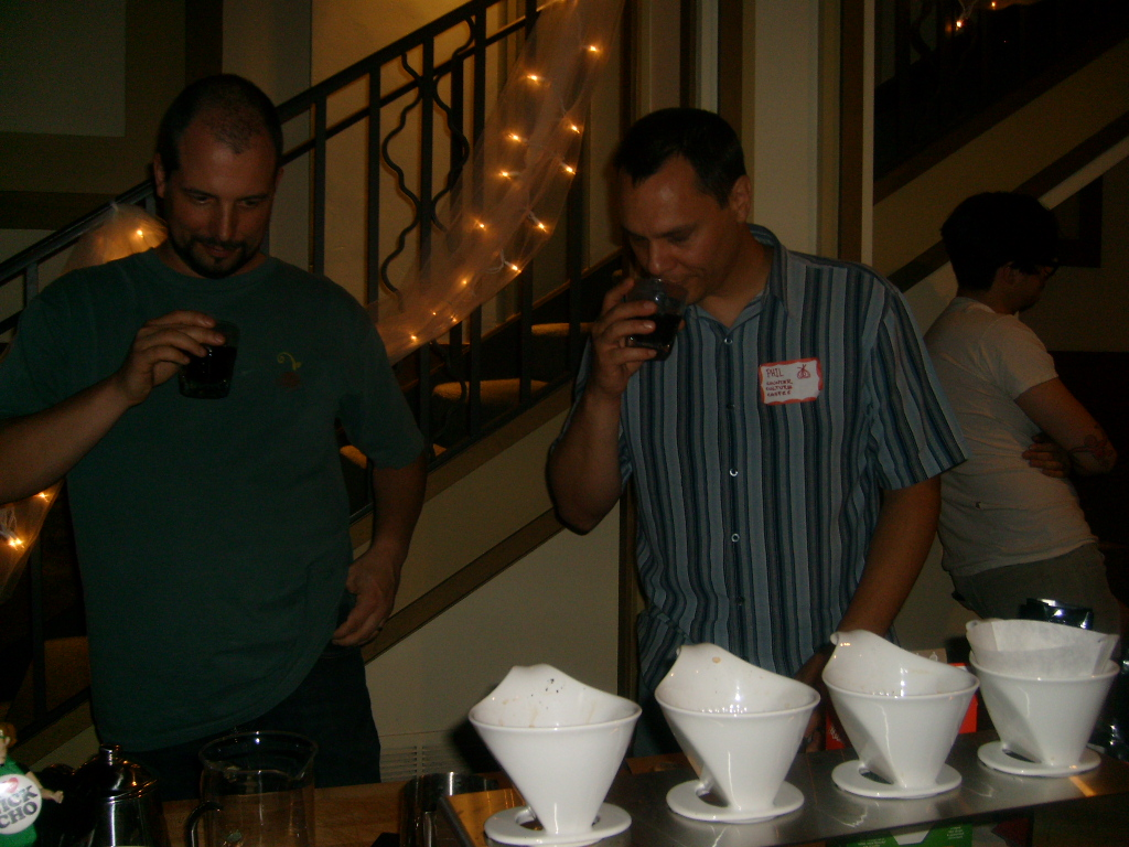 Rob Stephen of Coffee Solutions and I are tasting siphon coffee