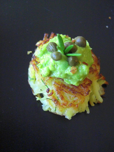 Latkes with guacamole and capers